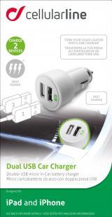 Autonabíječka Cellularline Dual Ultra, 2 x USB port, 15W/3A, bílá