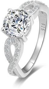 Beneto Stříbrný prsten s třpytivými krystaly AGG204 60 mm dámské