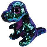 BOOS Flippables CRUNCH, 24 cm - flitrový fialovo-green dinosaurus