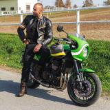 Kožená Moto Bunda W-Tec Brenerro  Black-Orange-White  Xl XL