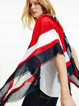 Modro-červený dámský vzorovaný šátek Tommy Hilfiger dámské červená