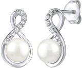 Silvego Originální stříbrné náušnice s pravou bílou perlou JST16959E dámské
