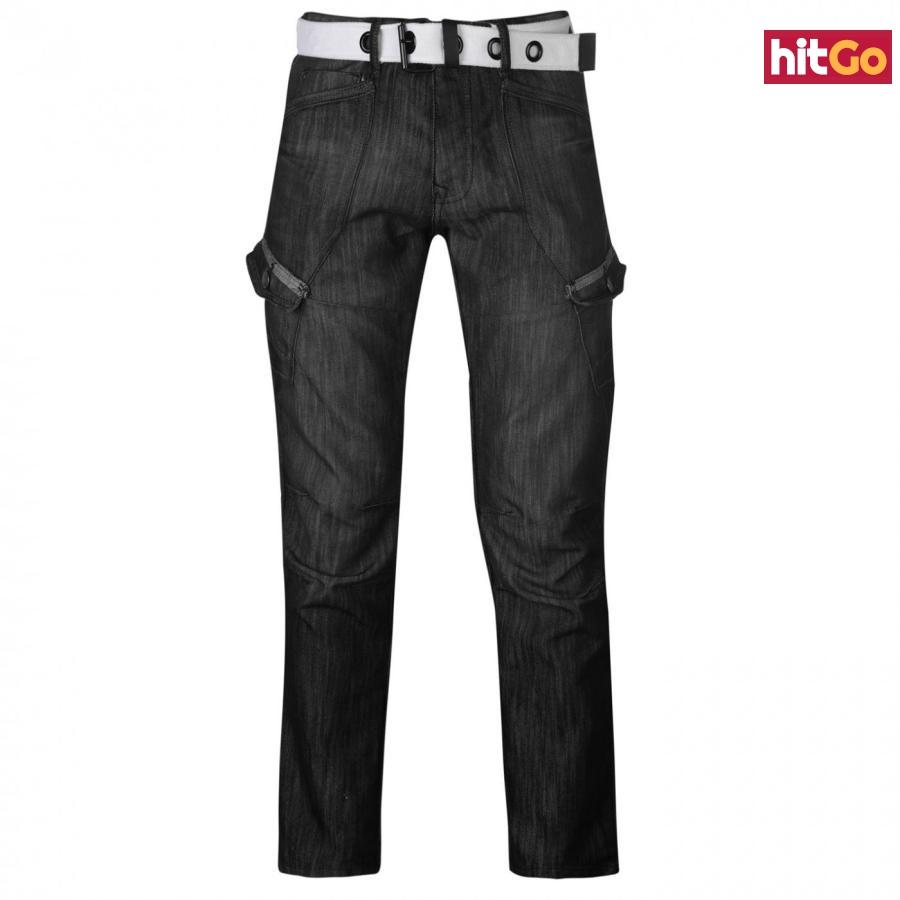 Airwalk Belted Cargo Jeans Mens pánské Other | Black II 36