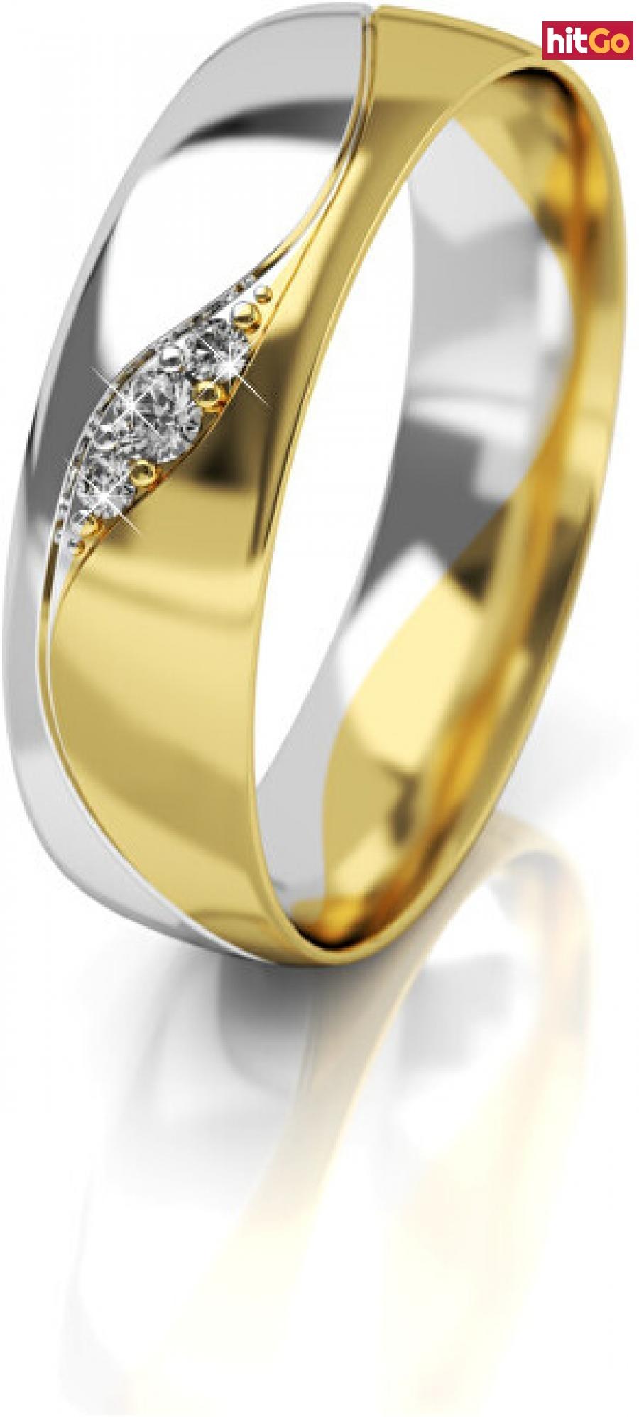 Art Diamond Dámský bicolor snubní prsten ze zlata se zirkony AUG276 58 mm dámské