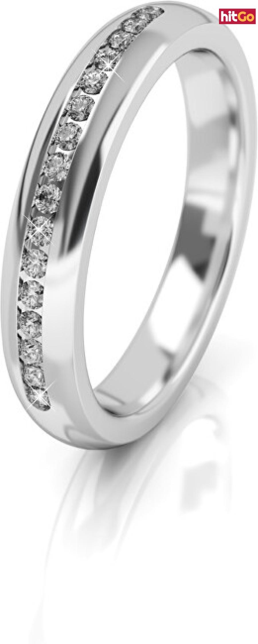 Art Diamond Dámský snubní prsten z bílého zlata se zirkony AUG277 52 mm dámské