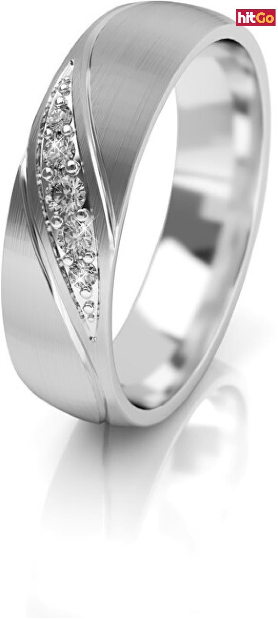 Art Diamond Dámský snubní prsten z bílého zlata se zirkony AUG284 56 mm dámské