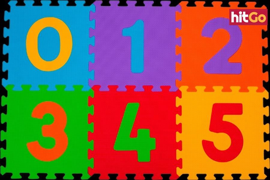 BABYONO Puzzle pěnové číslice 6 ks mix barev