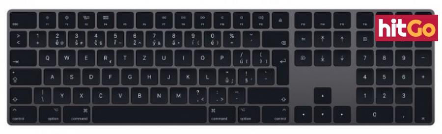 Bezdrátová klávesnice klávesnice apple magic keyboard num, cz, šedá/černá