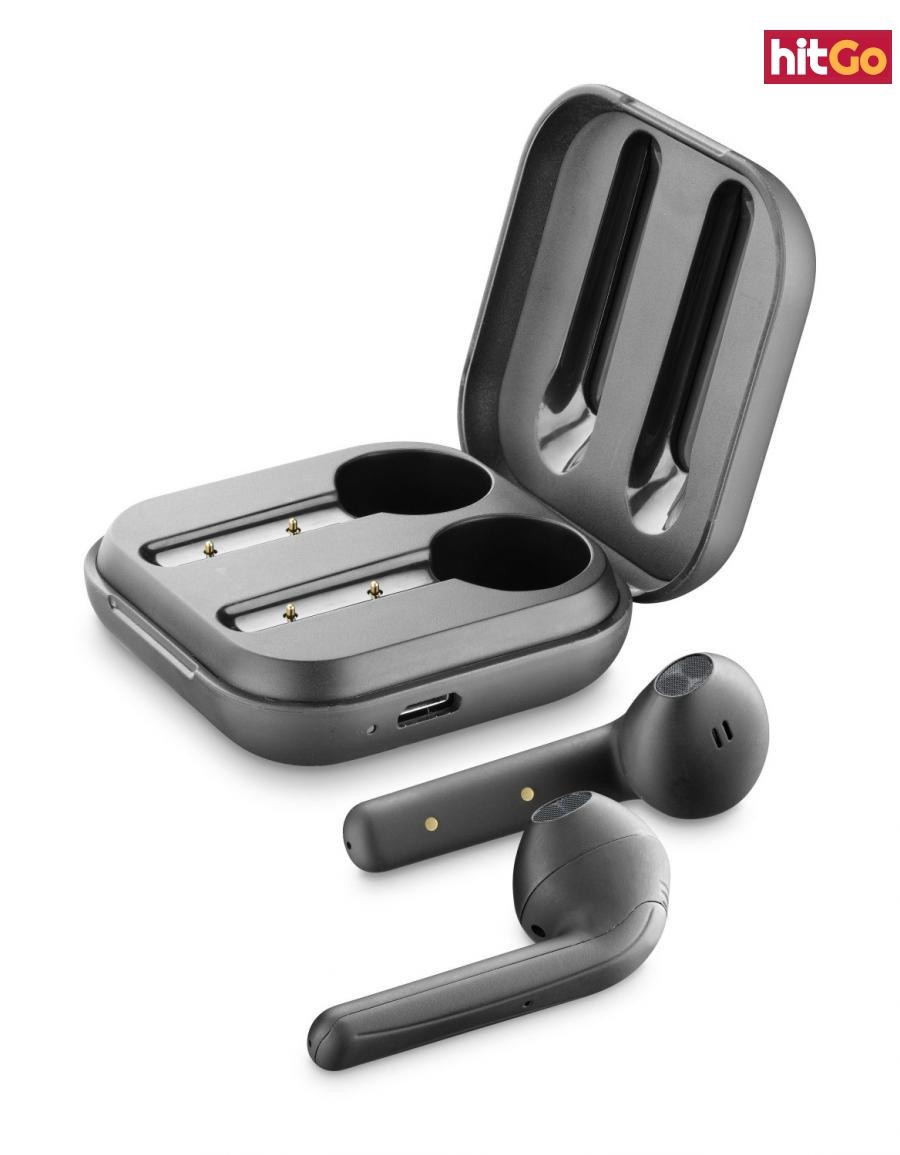 Bezdrátová sluchátka Cellularline Java s dobíjecím pouzdrem černá
