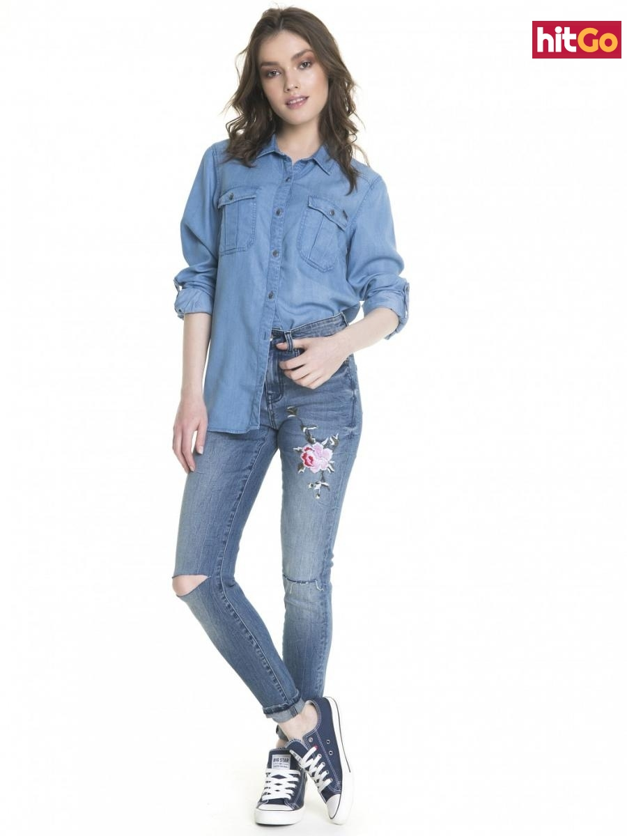 Big Star Womans Trousers 115490 Light Jeans-267 dámské Blue W27 L30