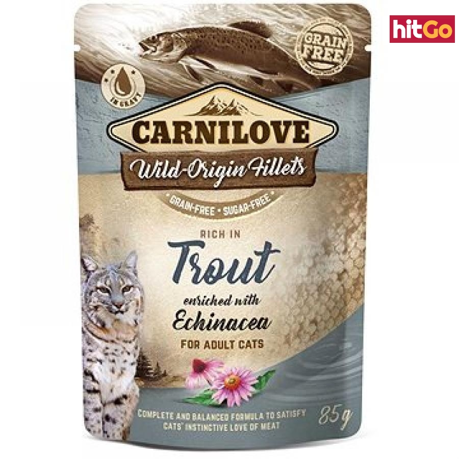 Carnilove Cat Pouch Rich in Trout Enriched with Echinacea 85 g