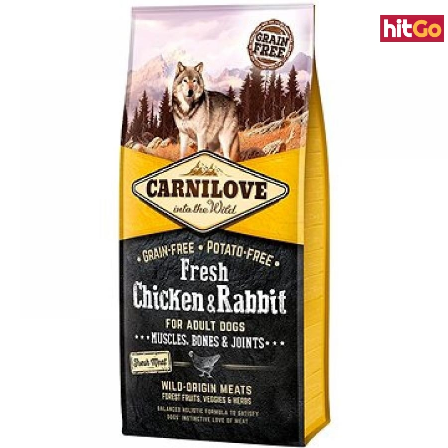 Carnilove fresh chicken & rabbit muscles, bones & joints for adult dogs 12 kg