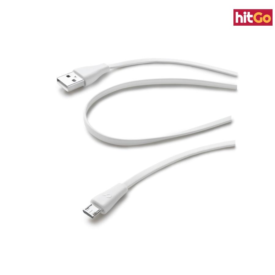 CellularLine Plochý datový kabel USB-microUSB 1m bílý