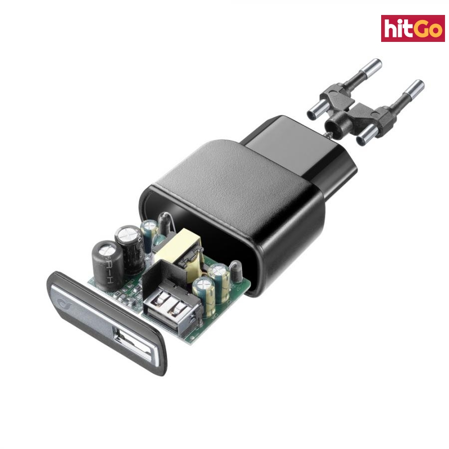 Cestovní nabíječka CellularLine s USB výstupem, 2A/10W, černá