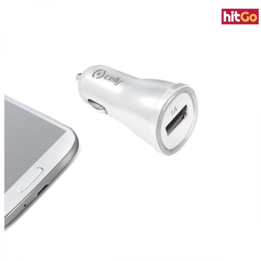 CL autonabíječka CELLY s USB výstupem 1A bílá