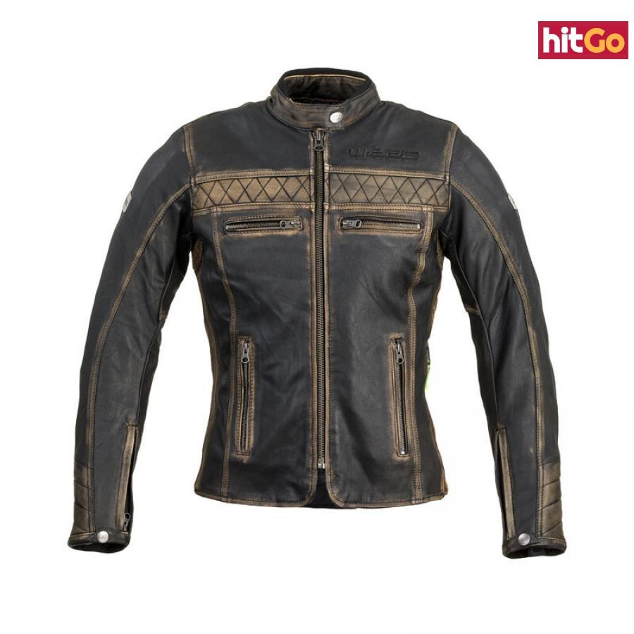 Dámská Kožená Moto Bunda W-Tec Kusniqua  Vintage Hnědá  L L