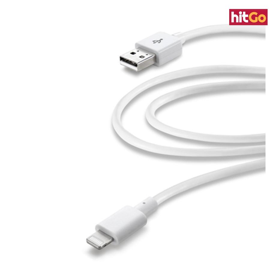 Datový kabel CellularLine s konektorem Lightning MFI 2m bílý