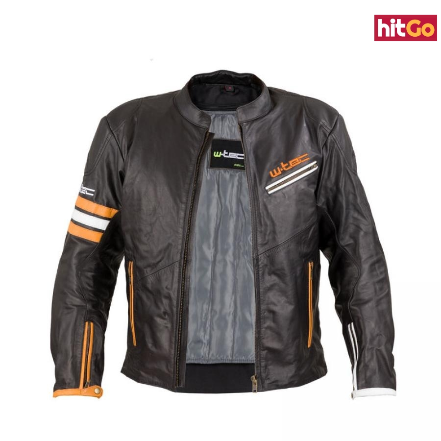 Kožená Moto Bunda W-Tec Brenerro  Black-Orange-White  Xxl XXL