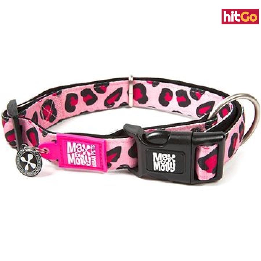 Max & Molly Smart ID obojek polostahovací, Leopard Pink, velikost XS
