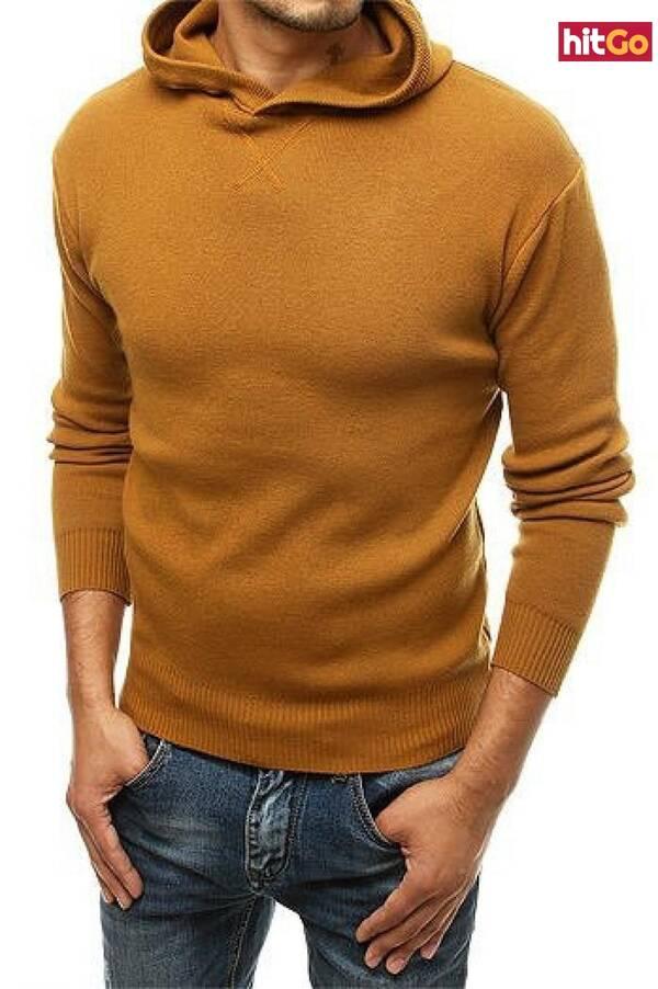 Mens camel hooded sweater WX1467 pánské Neurčeno L