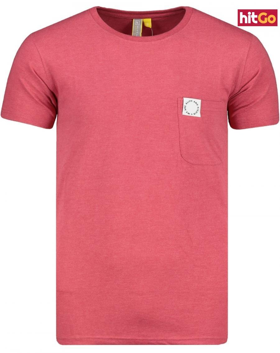 Mens T-shirt  Alife and Kickin Logo Pocket pánské Cranberry M