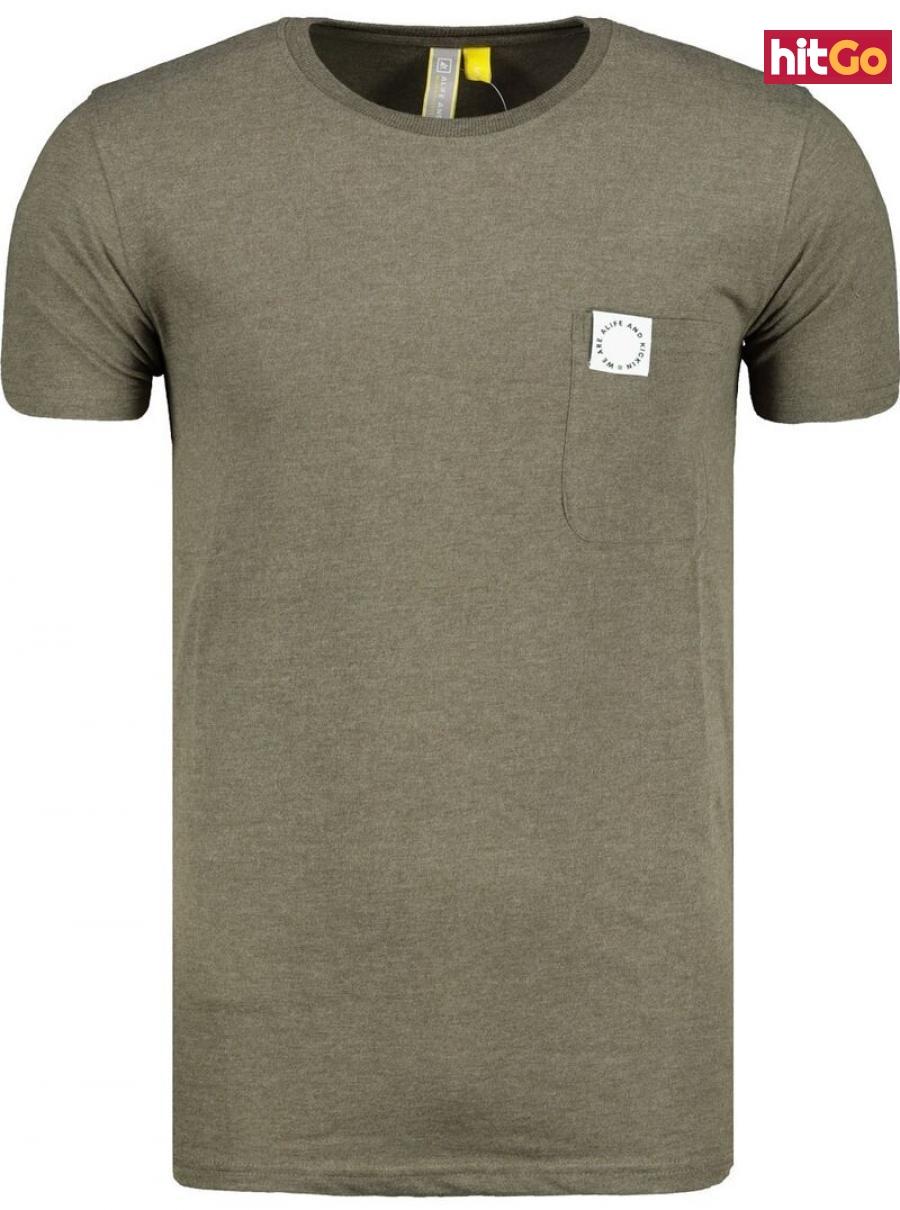 Mens T-shirt  Alife and Kickin Logo Pocket pánské Stone XXL