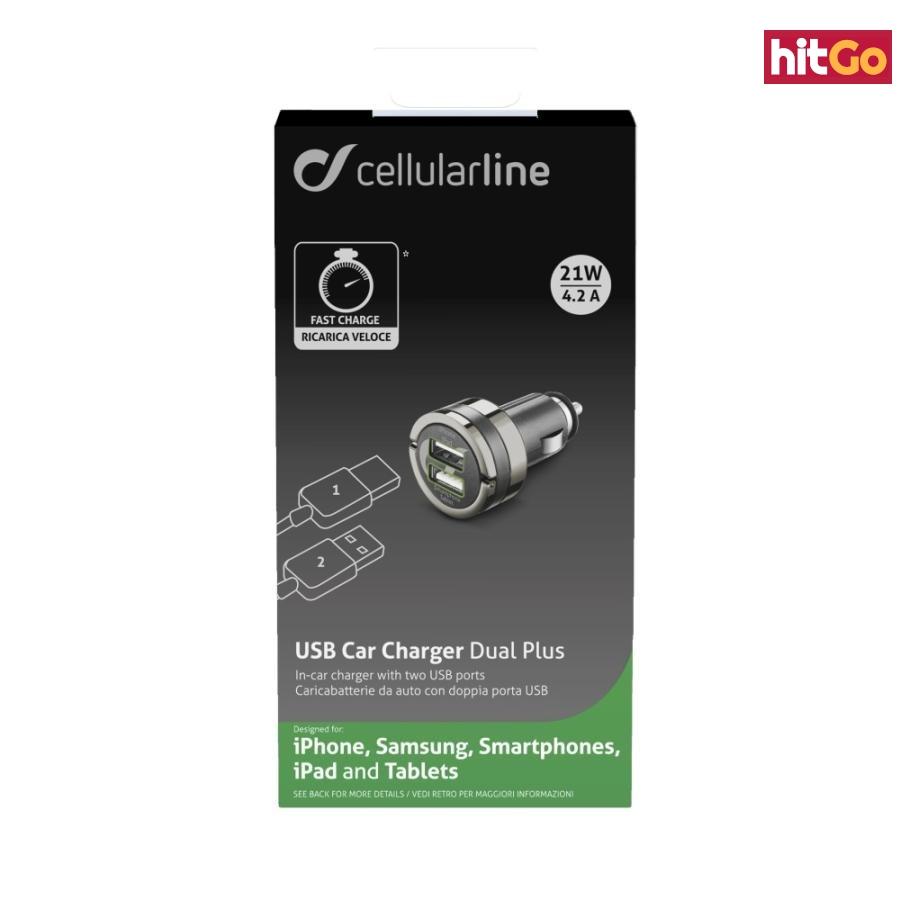 Mini autonabíječka CellularLine Dual Plus s 2xUSB výstupem, 21W/4.2 A max, černá