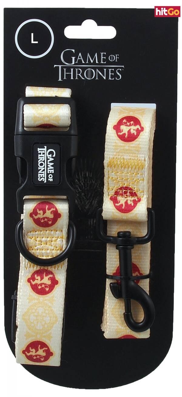 Obojek s vodítkem 100cm game of thrones lannister žlutý 2,5 x 51-71cm