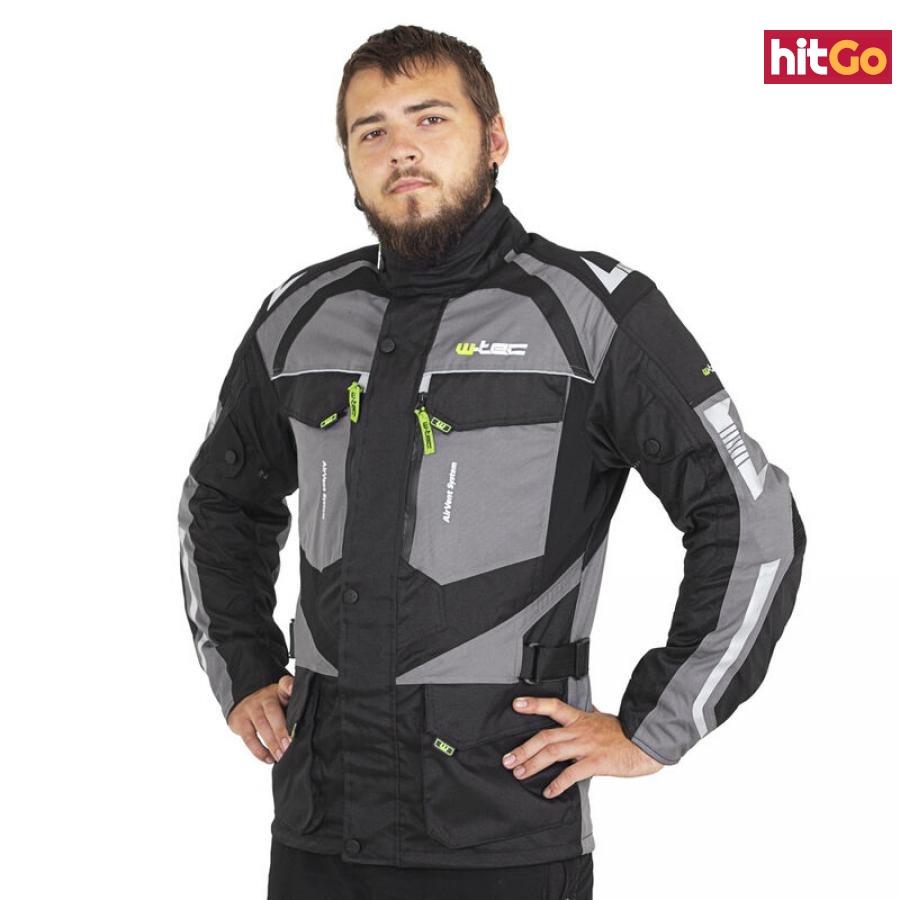 Pánská Moto Bunda W-Tec Burdys Evo  Černo-Šedo-Zelená  Xl XL