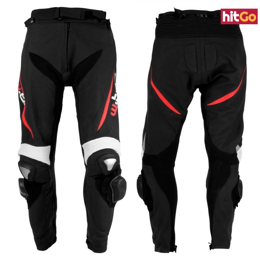 Pánské Kožené Moto Kalhoty W-Tec Vector  Černo-Červená  S S