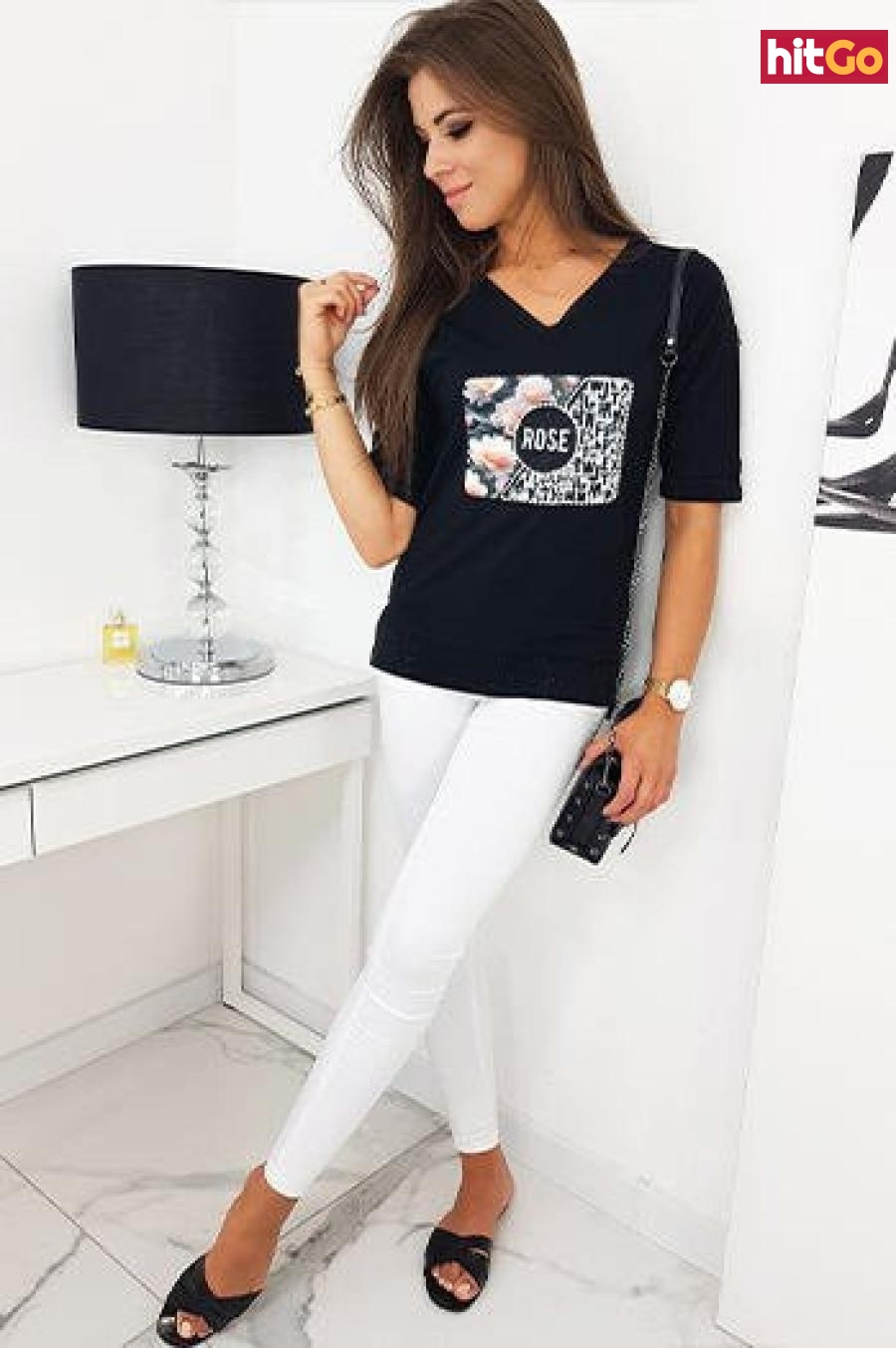 ROSE womens blouse black RY1329 dámské Neurčeno M