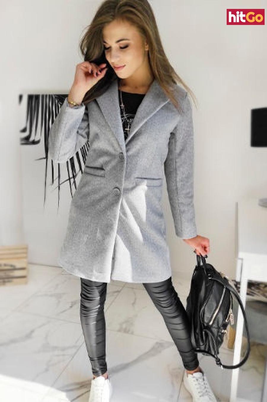 Single-breasted womens coat DRESNO gray NY0382 dámské Neurčeno L