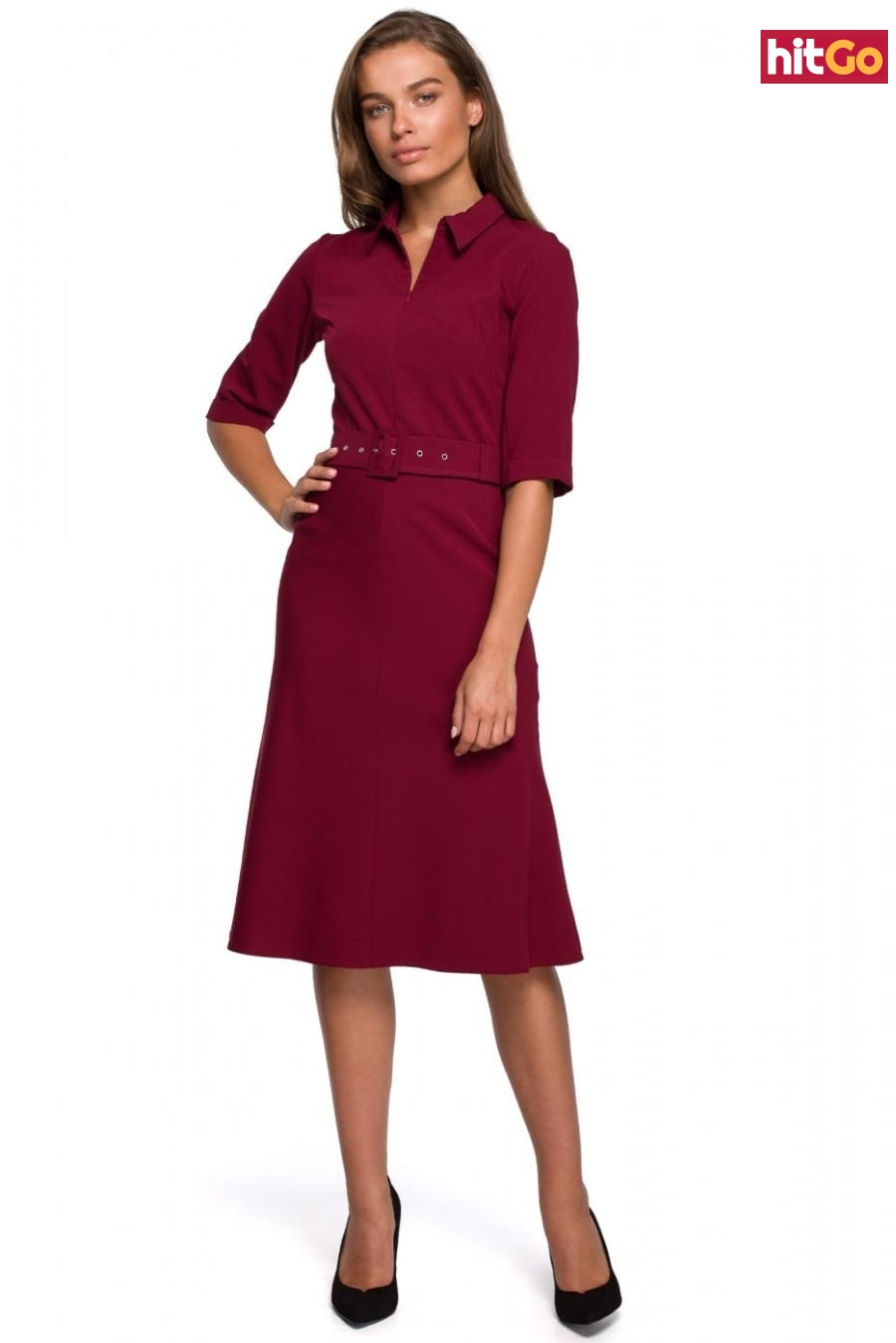 Stylove Womans Dress S231 Maroon dámské Red XL