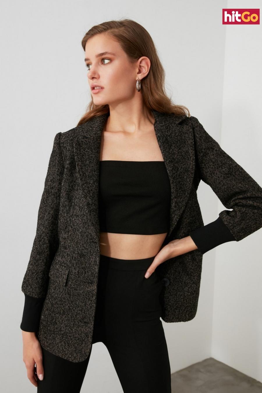 Trendyol Anthracite Button Detailed Jacket dámské 34