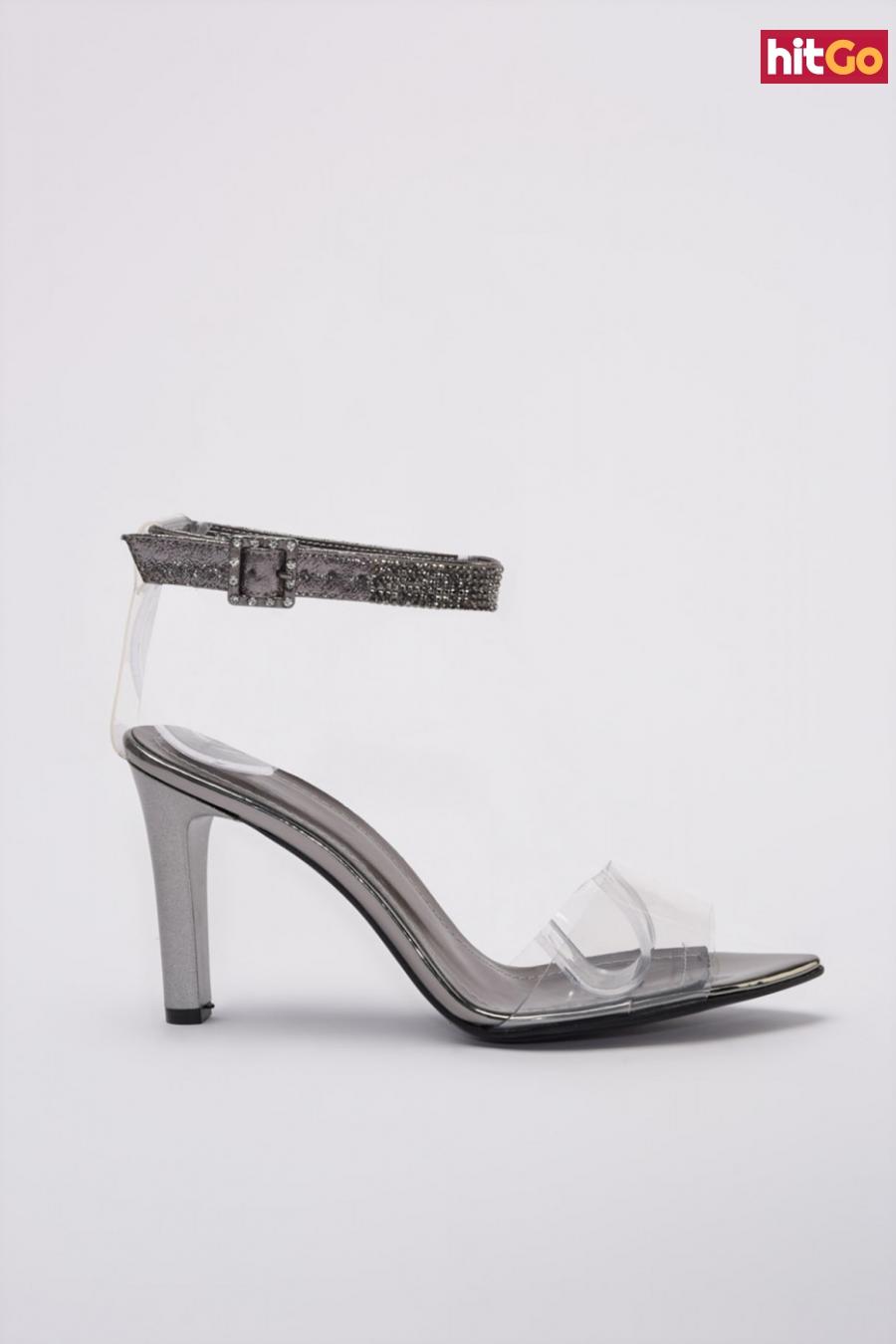 Trendyol Anthracite Stone Detailed Transparent Womens Classic Heels dámské 40
