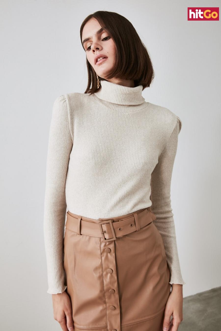 Trendyol Beige Throat Knitted Blouse dámské XL