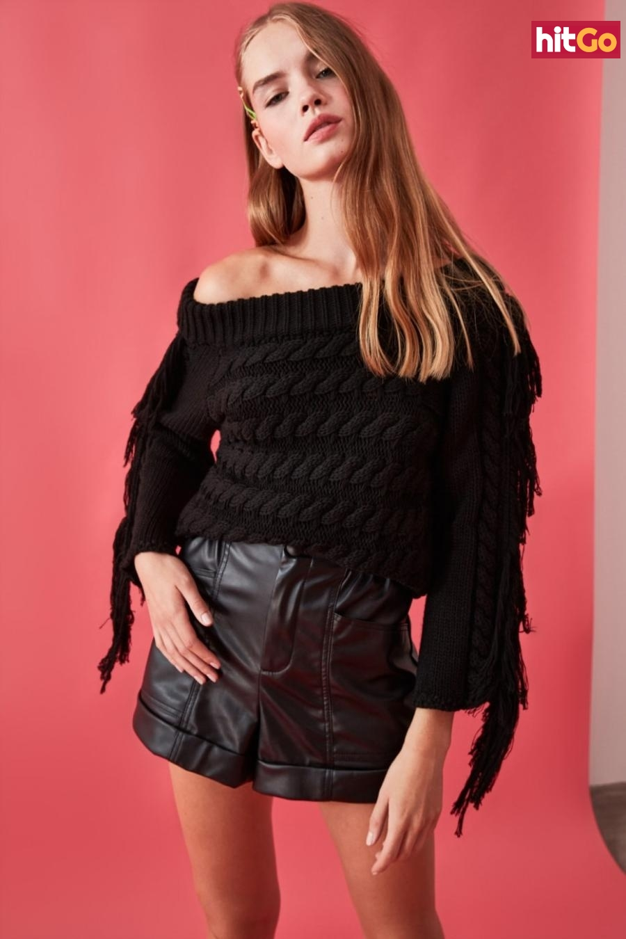 Trendyol Black Hair Braided Tassel Detailed Knitwear Sweater dámské M