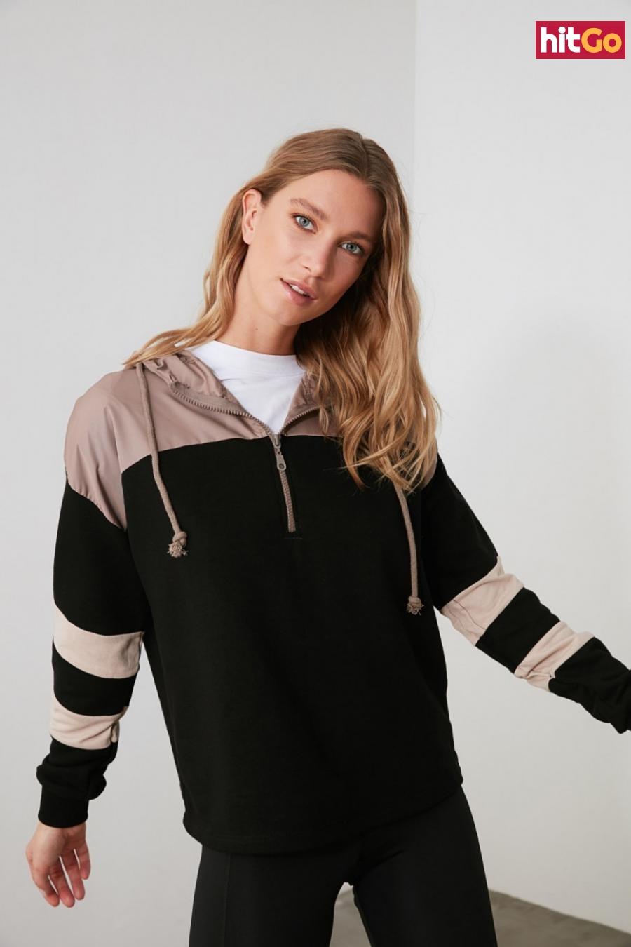 Trendyol Black Hooded Sports Sweatshirt dámské S