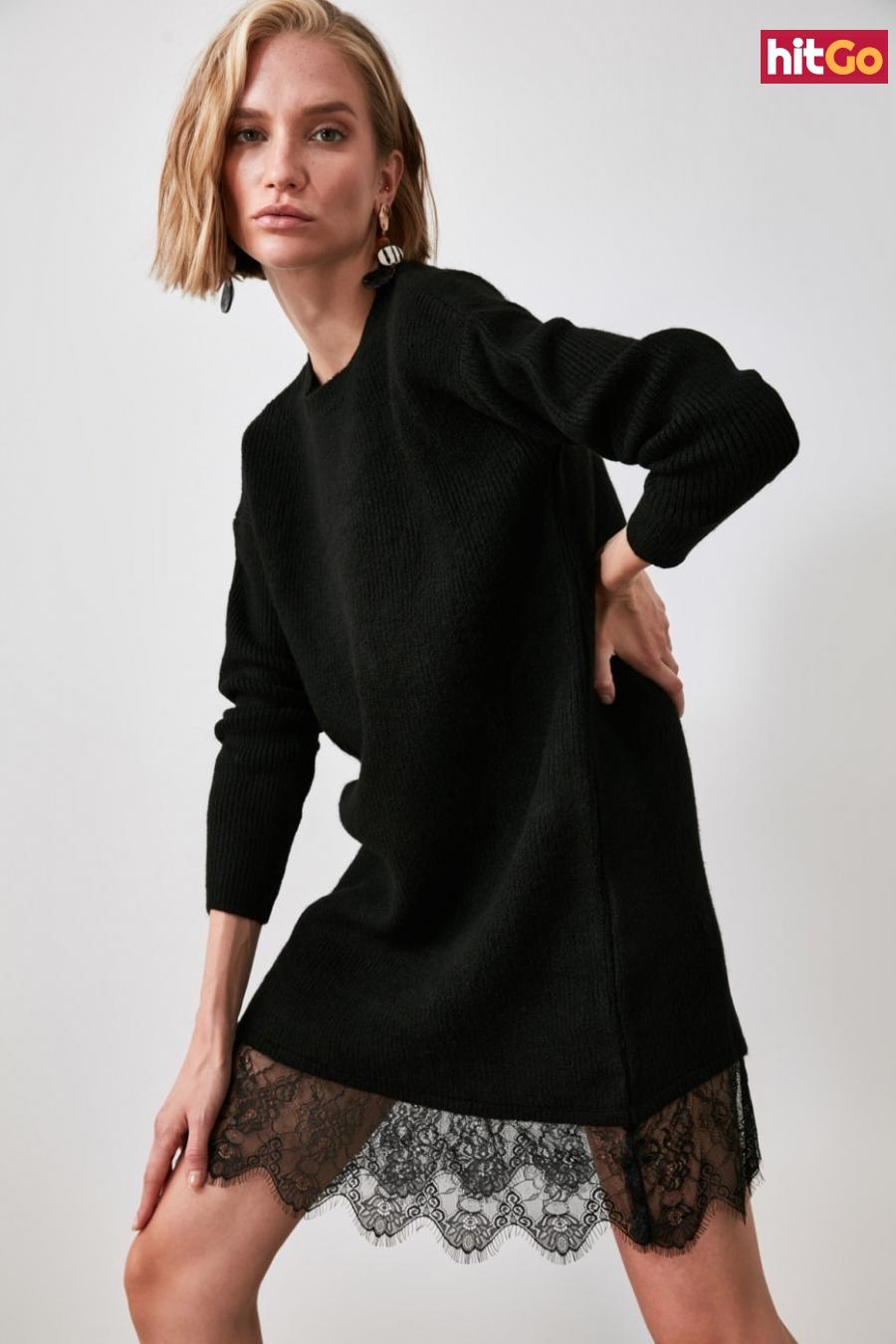 Trendyol Black Knitwear Sweater Dress dámské S