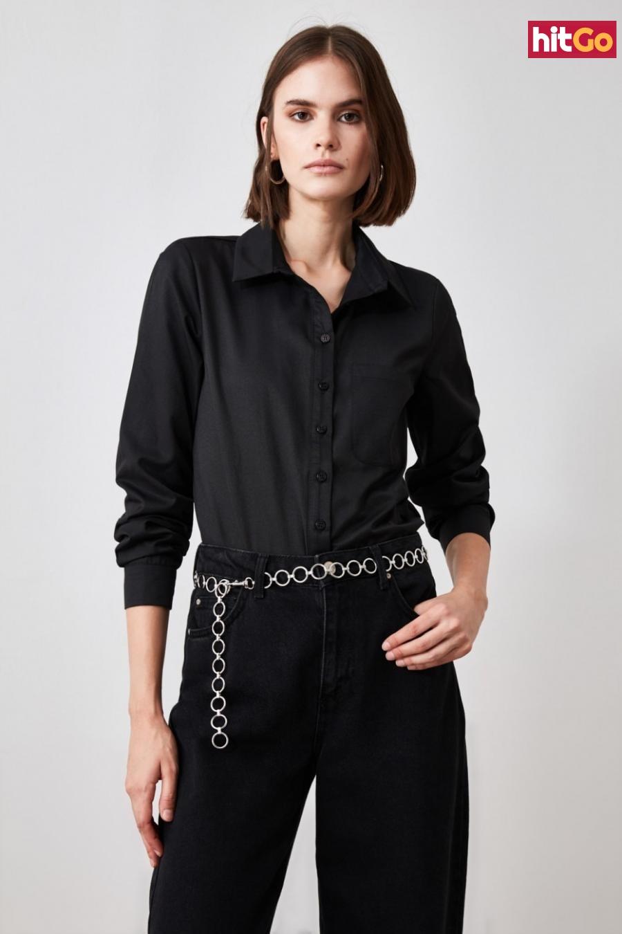 Trendyol Black Oversize Shirt dámské 34