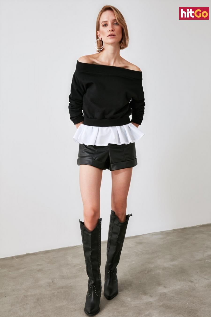 Trendyol Black Poplin Detailed Carmen Collar Basic Knitted Sweatshirt dámské S