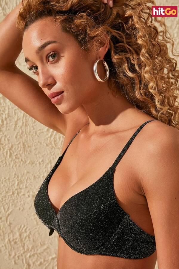 Trendyol Black Shiny Bikini Top dámské 40