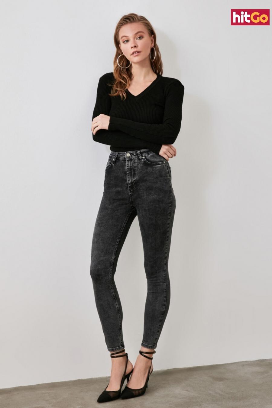 Trendyol Black Wash Waist Skinny Jeans dámské 34