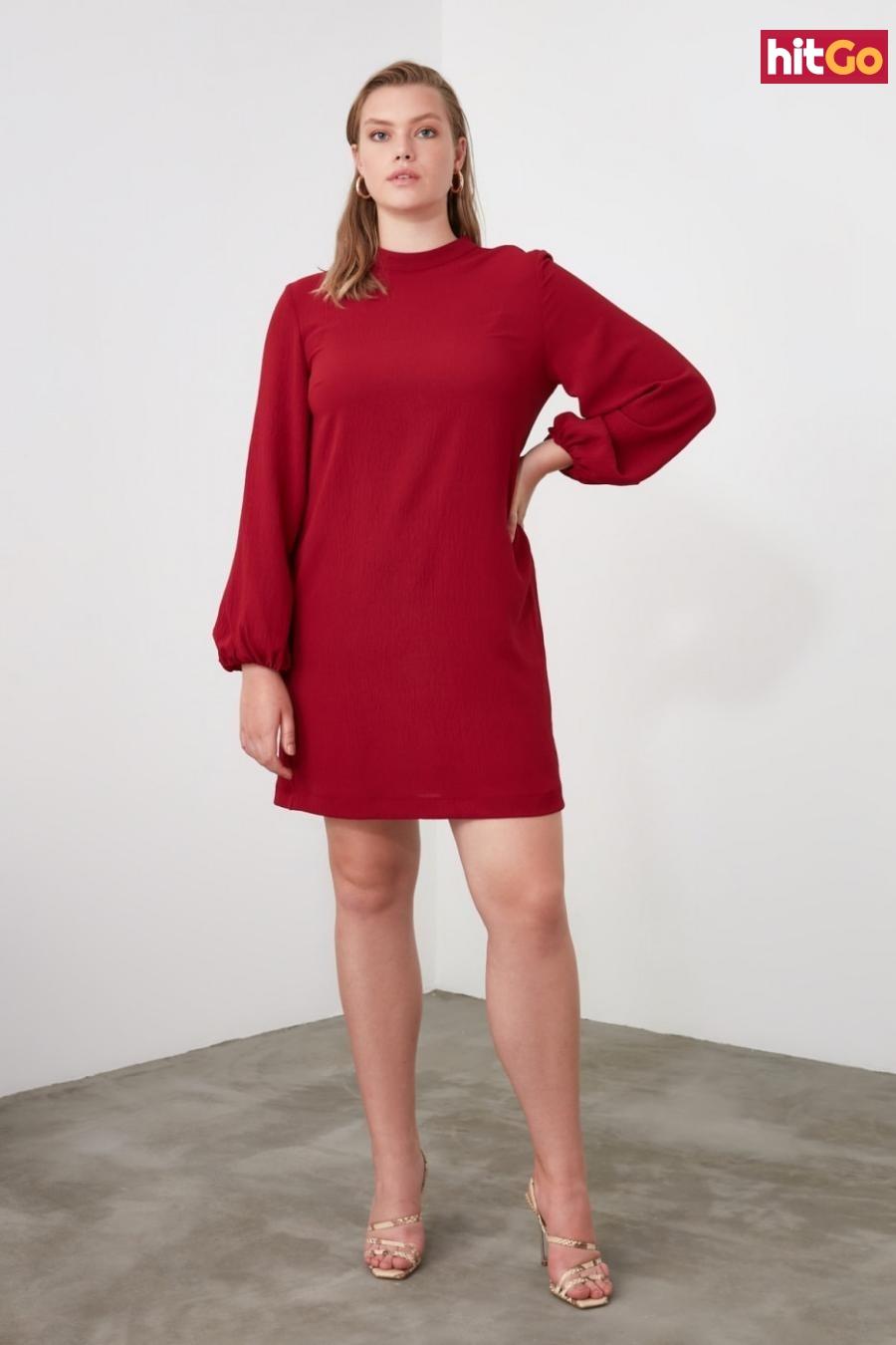 Trendyol Bordeaux Basic Dress dámské Burgundy 40