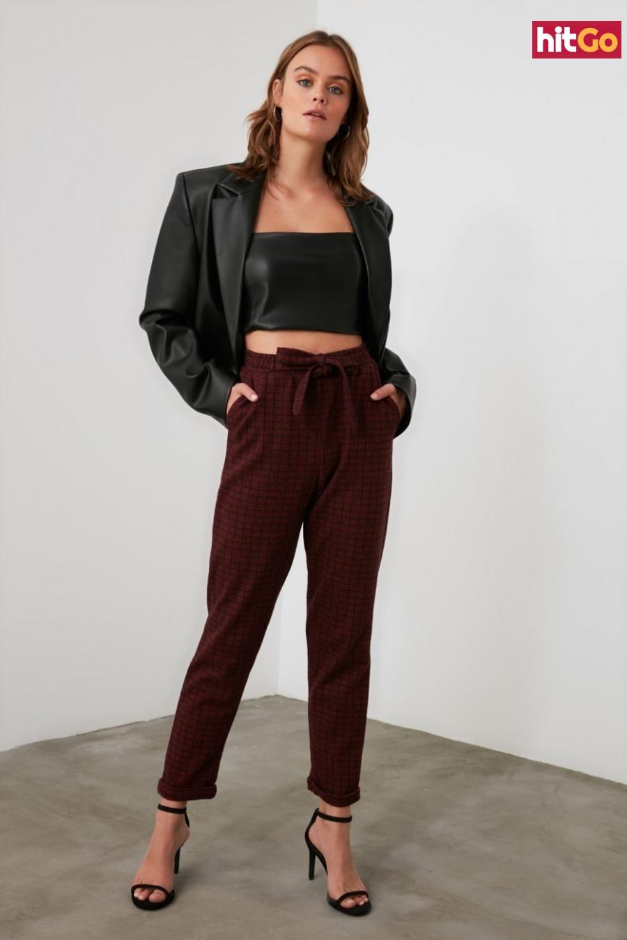 Trendyol Burgundy Fastening Detailed Knitted Trousers dámské M