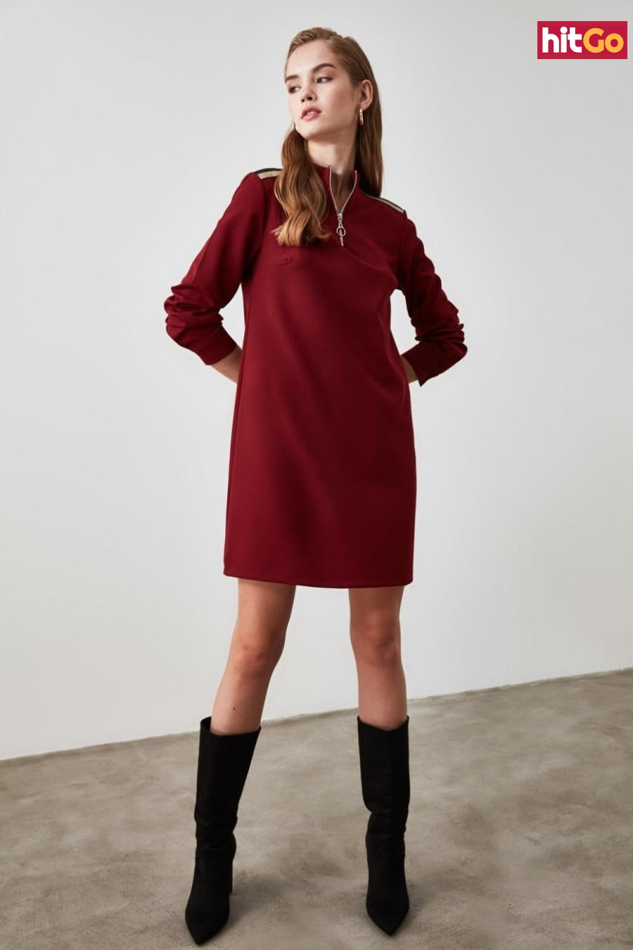 Trendyol Burgundy Zipper Detailed Dress dámské 42