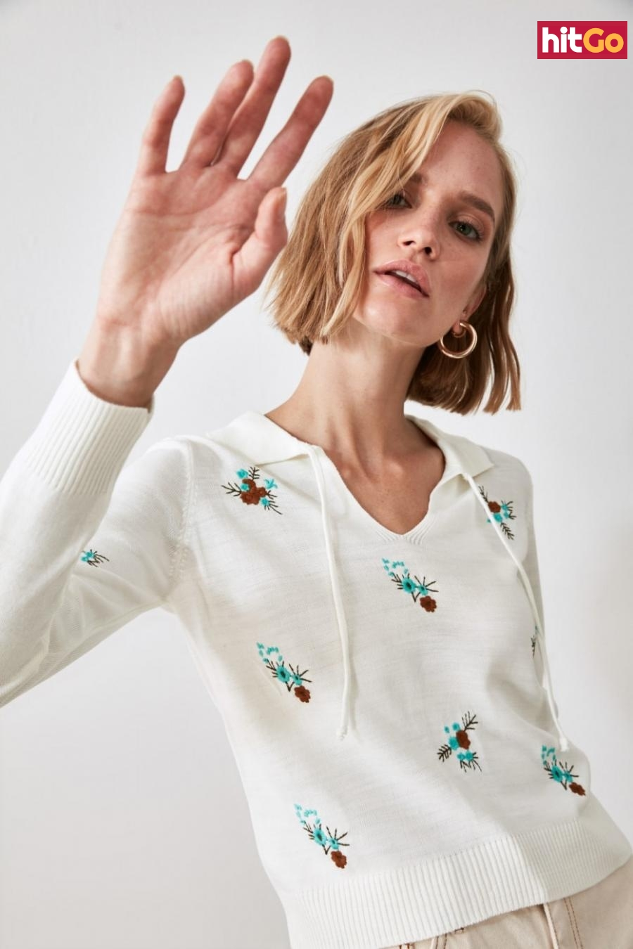 Trendyol Ekru Floral Embroidered Knitwear Sweater dámské Ecru L