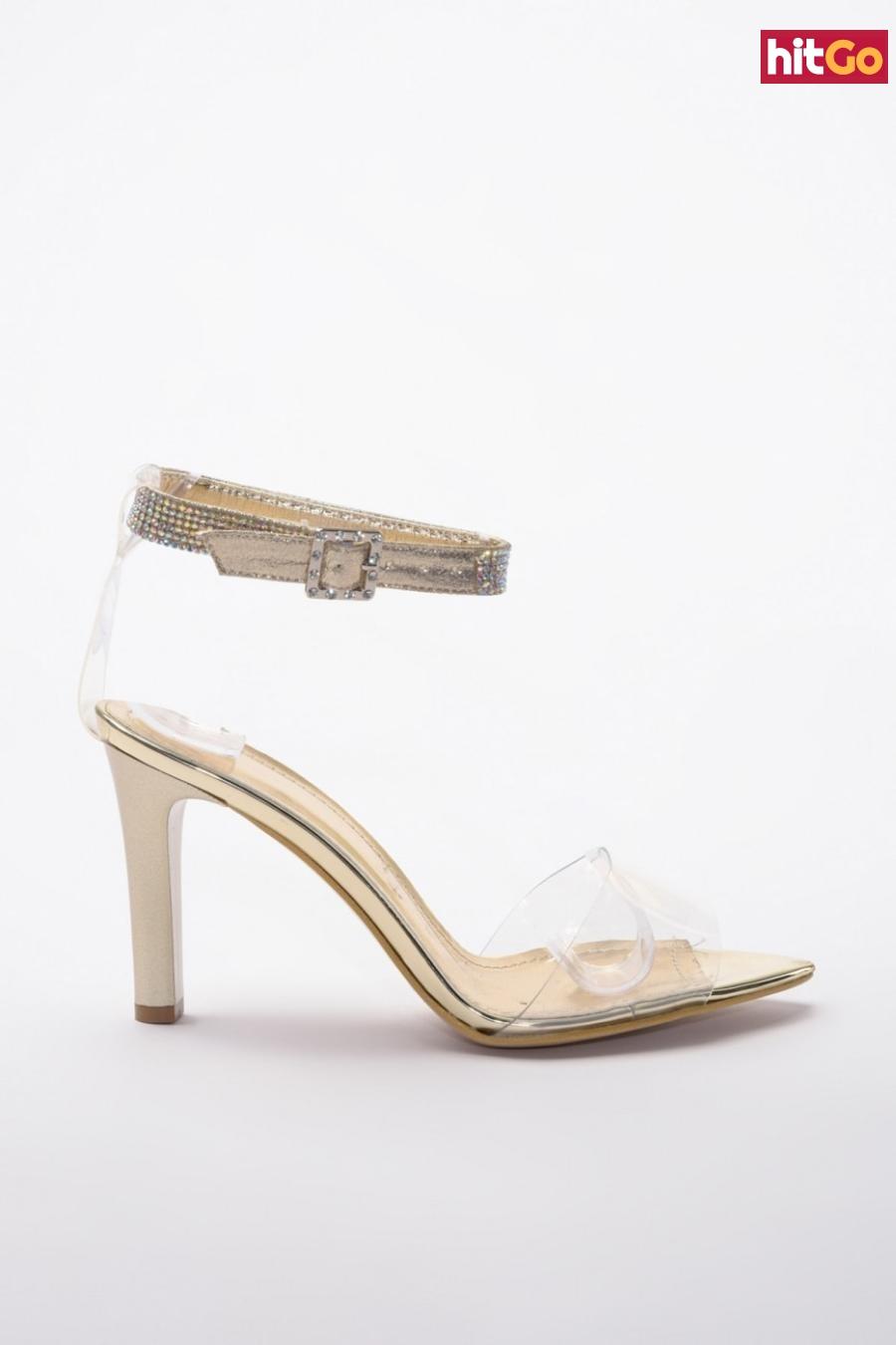 Trendyol Golden Stone Detailed Transparent Womens Classic Heels dámské 40