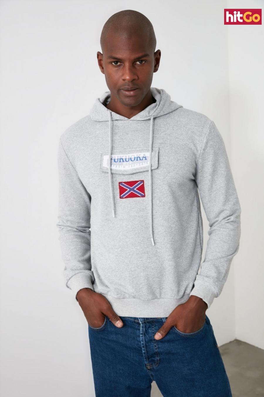 Trendyol Grey Pocket Detailed Hooded Sweatshirt pánské L
