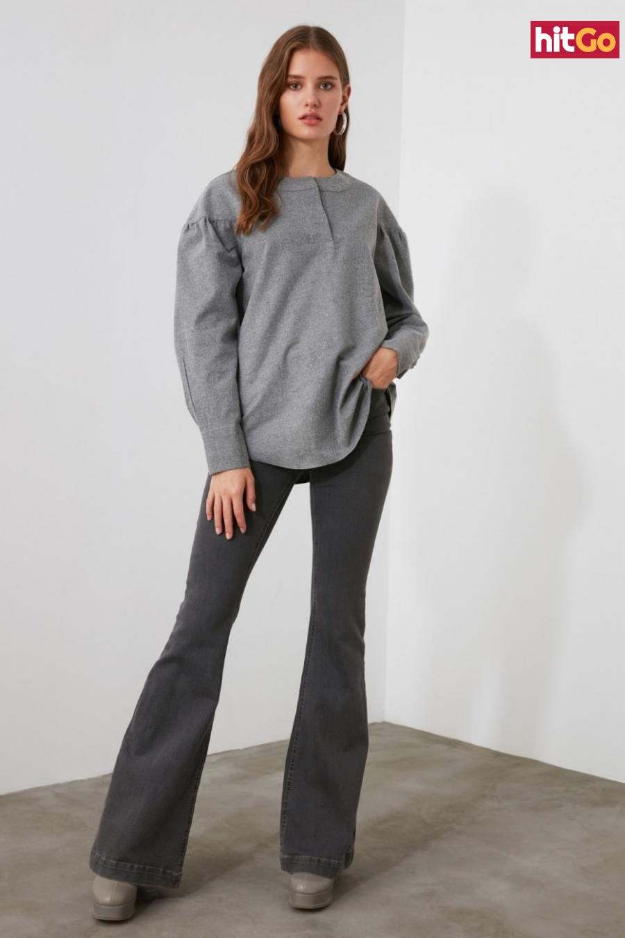 Trendyol Grey Sleeve Detailed Blouse dámské 36